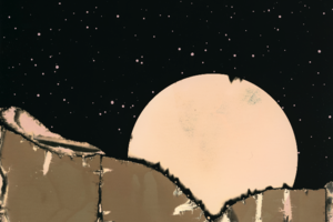 Mountain top and moon in a hand drawn style