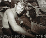 Text on photograph reads: ALWAYS FIXING CARS