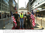 Text under image reads: I wanted to add Checkpoint Charlie to my collection. I had to pass through 38 checkpoints in order to escape Syria.