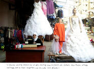 Text under image reads: I provide wedding dresses for all ages, starting from 11 years old. Fathers from Raqqa arrange marriages just so their daughters can escape ISIS grooms.