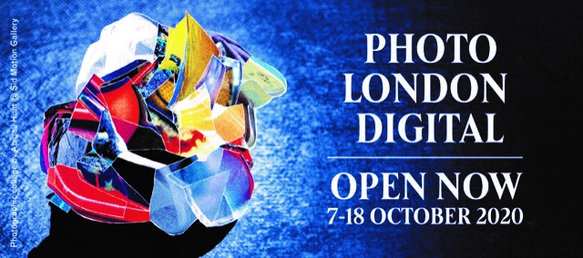 Text reads: Photo London Digital. Open Now. 7-18 October 2020. There is an abstract collage to the left of the text on a blue background.