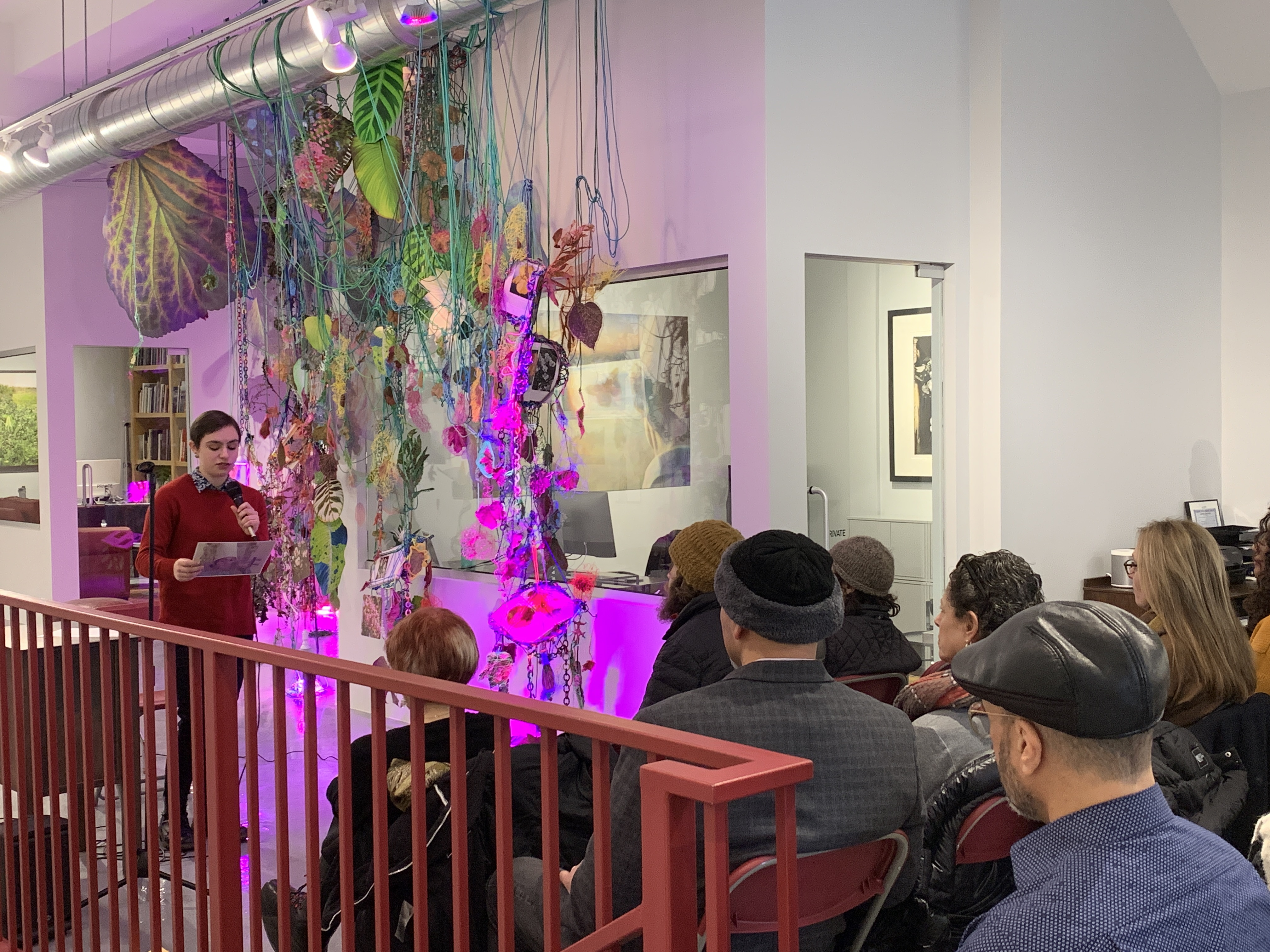 "Image: Araxi Cass speaking during ""Art Speaks"" on February 8, 2020 at Catherine Edelman Gallery."